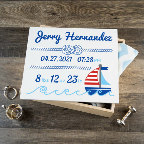 Personalized Baby Keepsake Box - Blue with Nautical - Large Size