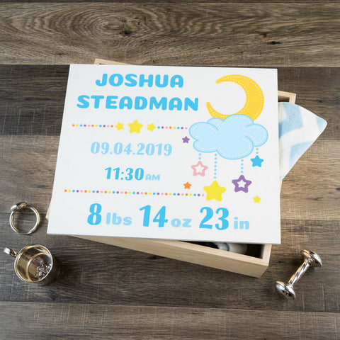 Personalized Baby Keepsake Box - Blue with Stars - Large Size