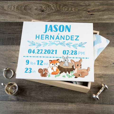 Personalized Baby Keepsake Box - Blue with  Woodland Art - Large Size