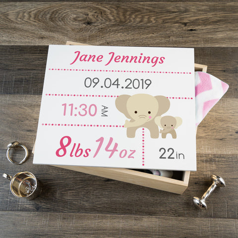 Personalized Baby Keepsake Box - Pink with Elephants - Large Size