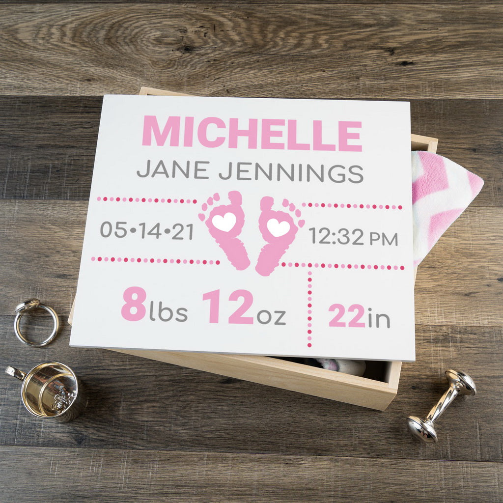 Personalized Baby Keepsake Box - Pink with Footprints - Large Size