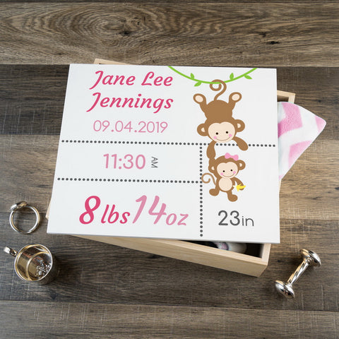 Personalized Baby Keepsake Box - Pink with Monkeys - Large Size
