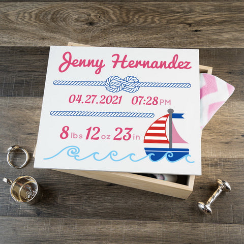 Personalized Baby Keepsake Box - Pink with Nautical - Large Size