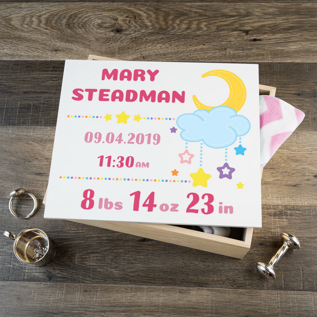 Personalized Baby Keepsake Box - Pink with Stars - Large Size