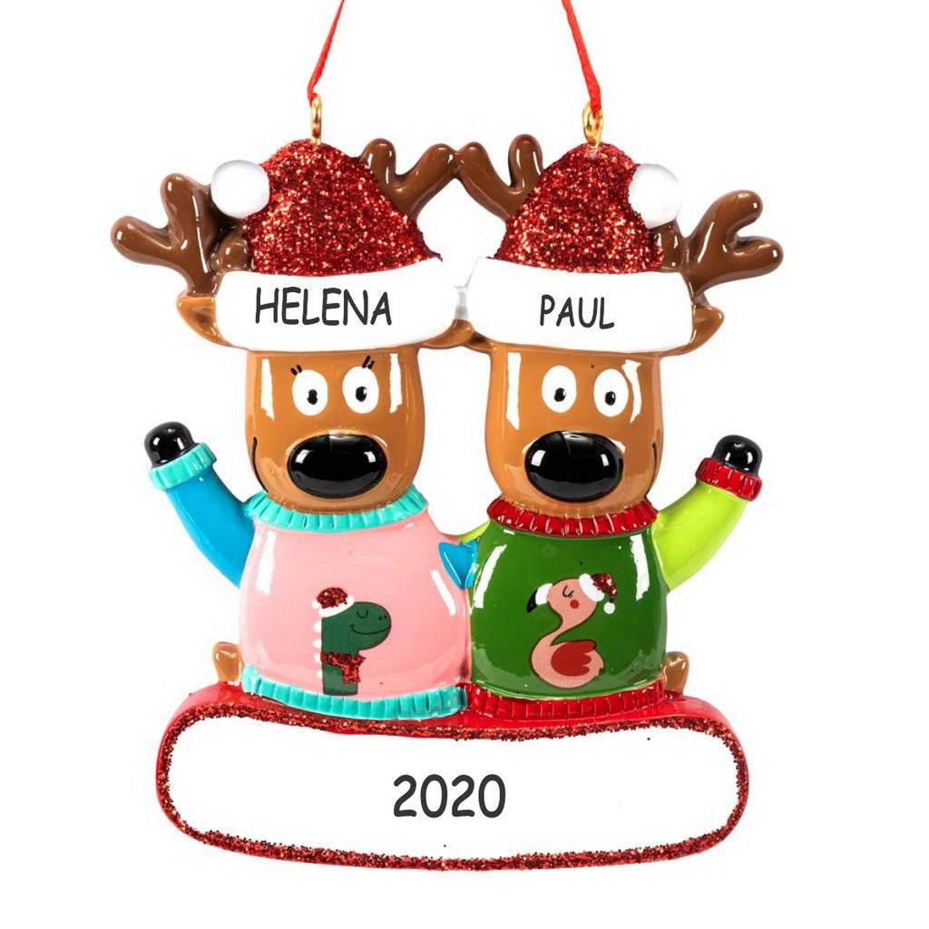 Personalized Ugly Christmas Sweater Reindeer Christmas Ornament - Couple