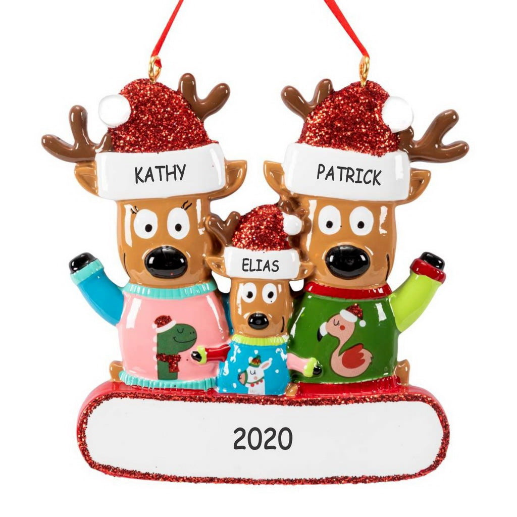 Personalized Ugly Christmas Sweater Reindeer Christmas Ornament - Family of 3