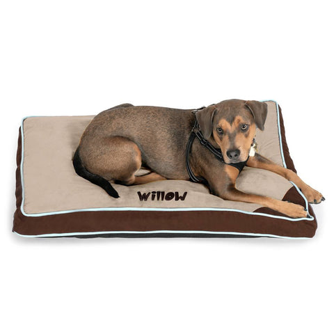 Personalized Pet Bed - Tan & Brown with Seafoam Piping
