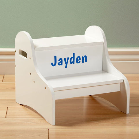 Personalized Jungle Animals Boy Childrens and Toddlers White Folding Stool