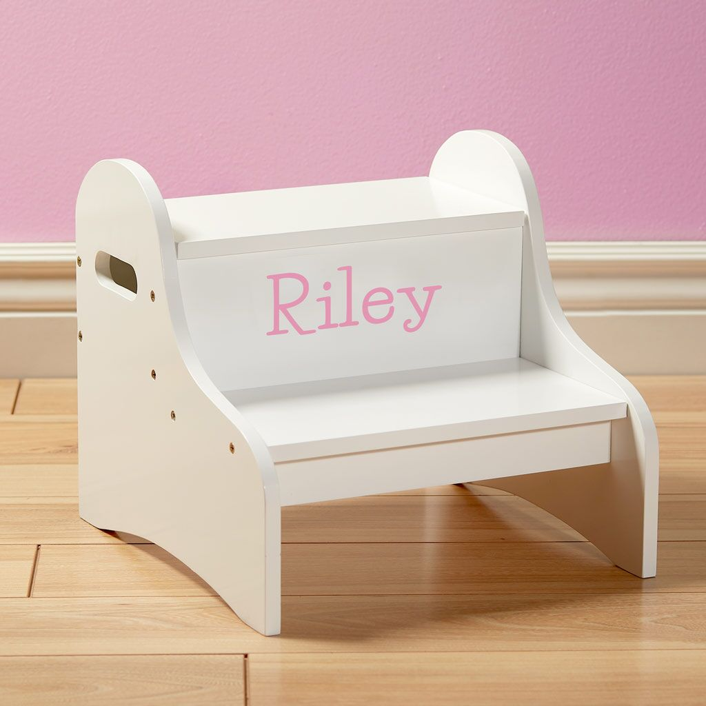Personalized Dibsies Step Stool with Storage - White - Girls