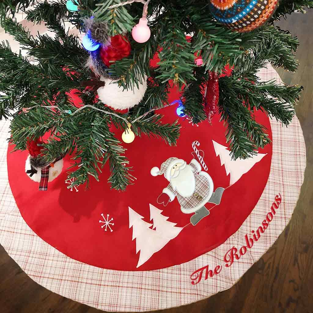 Personalized Classic Gray Plaid Tree Skirt - 60""