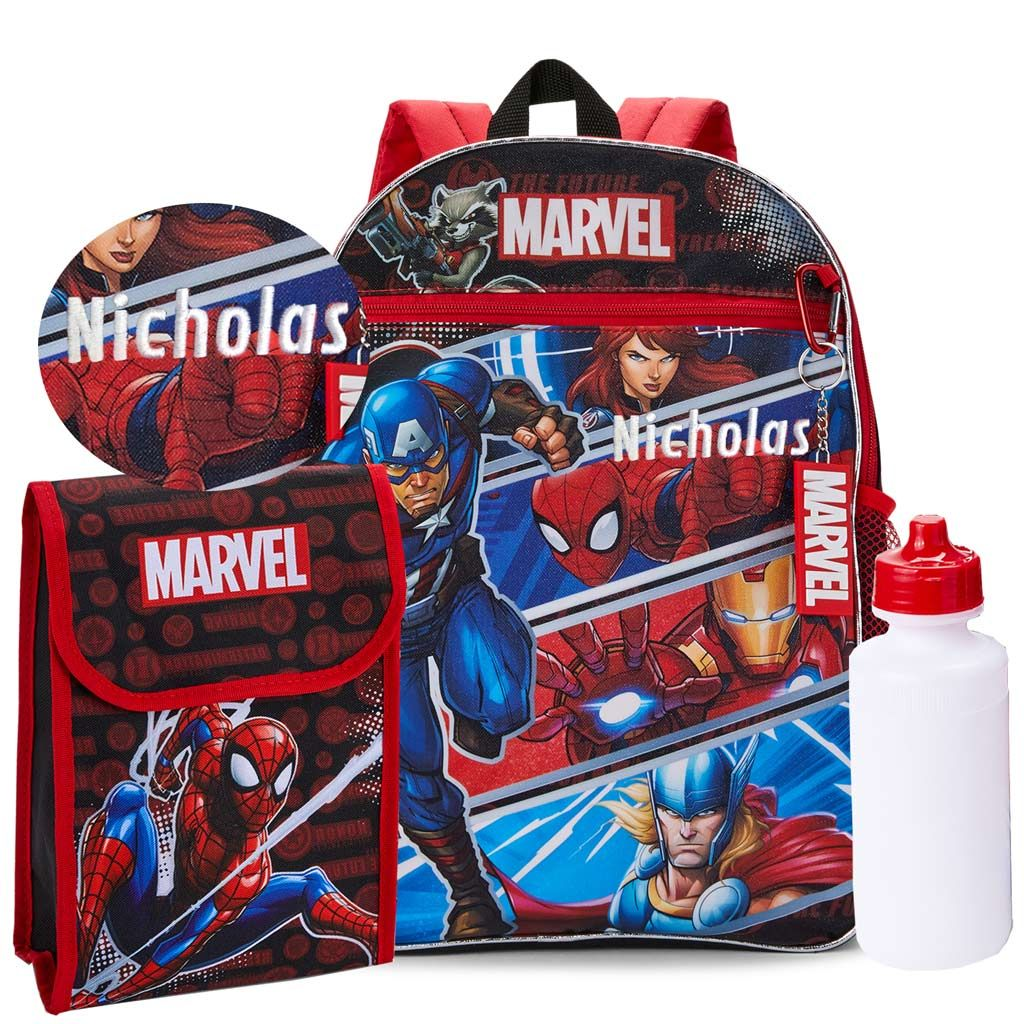 "Personalized 16"" Avengers Backpack with Bonus Lunch Bag, Water Bottle, Carabiner and Key Ring"