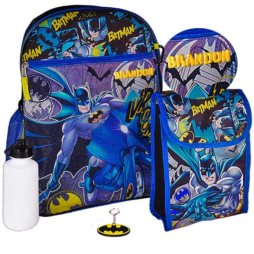"Personalized 16"" Batman Backpack with Bonus Lunch Bag, Key Chain, Water Bottle,and Carabiner Clip"