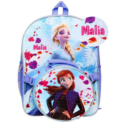 Personalized Frozen 2 Backpack with Round Lunch Bag - Change is in the Air - 16 Inch