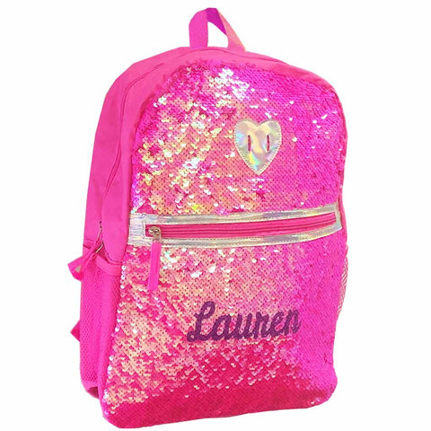 Personalized Magic Reversible Sequins Backpack - Pink