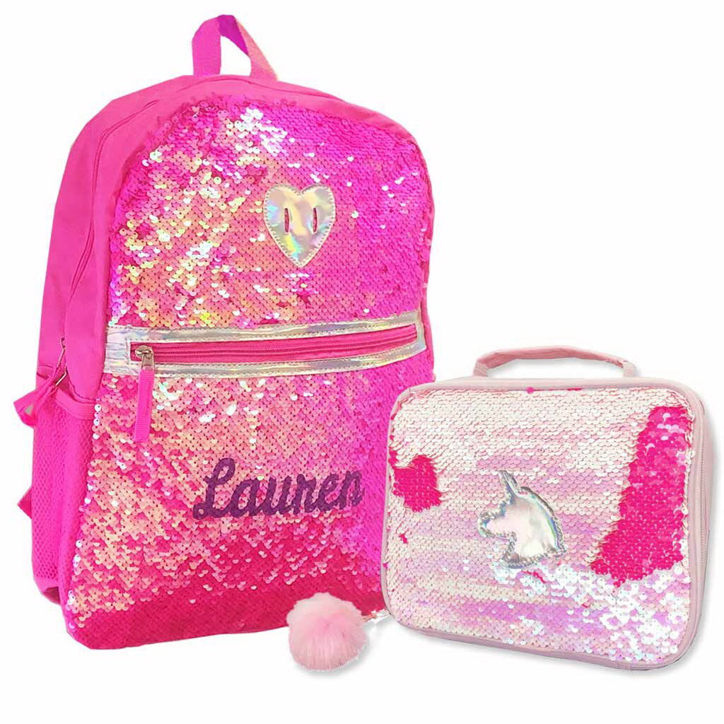 Personalized Pink Heart Sequins Backpack with Bonus Lunch Box