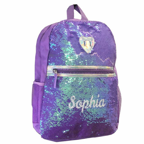 Personalized Magic Reversible Sequins Backpack - Purple