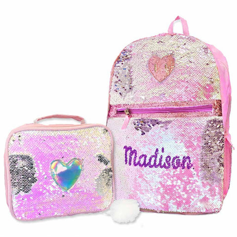 Personalized Heart Sequins Backpack with Bonus Lunch Box