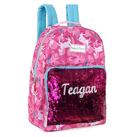 Personalized Magic Reversible Sequins Backpack - Unicorn