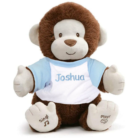 Personalized Animated Monkey Plush Toy - Blue