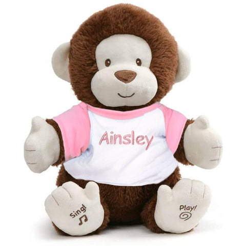 Personalized Animated Monkey Plush Toy - Pink