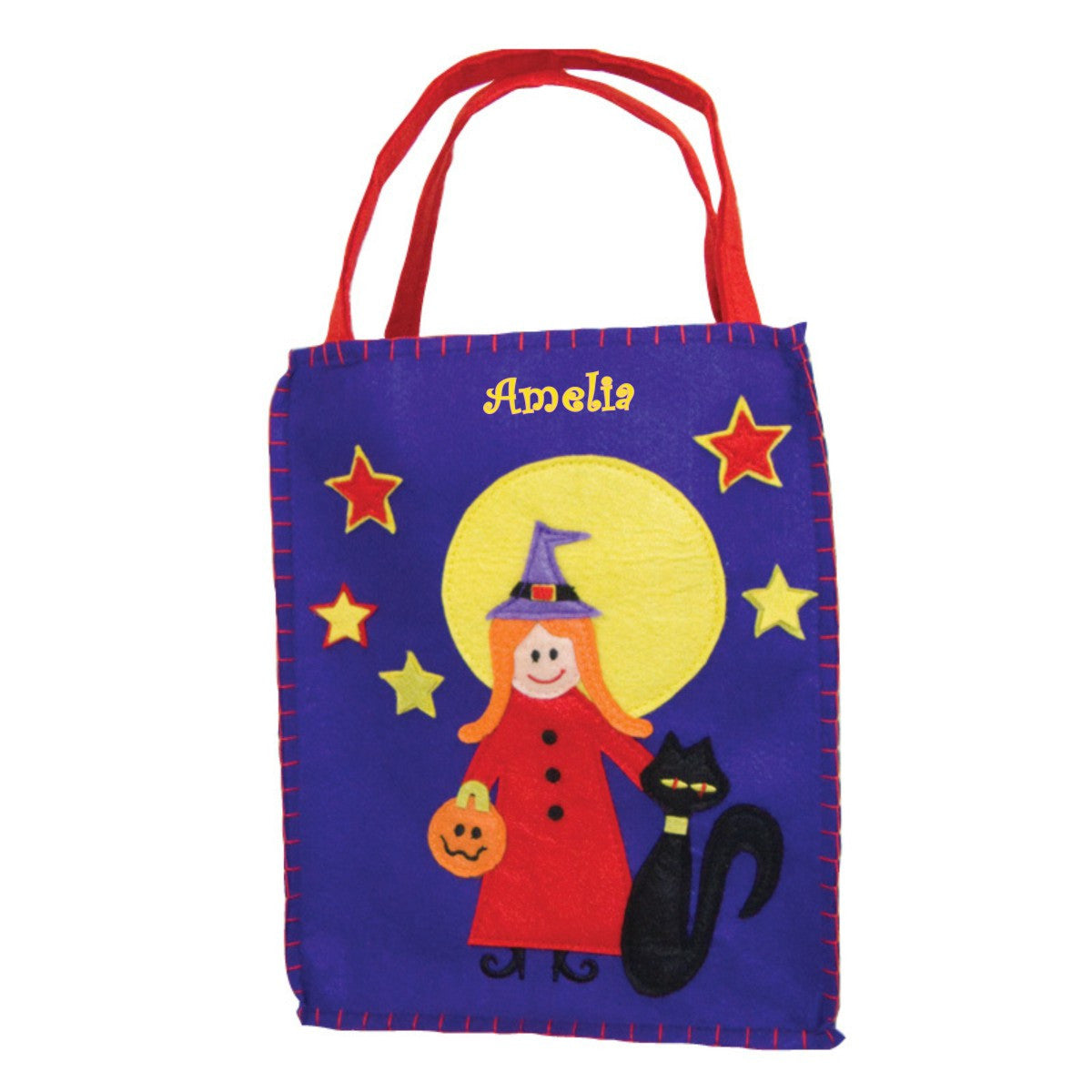 Personalized Bru-Hilda and Her Black Cat Trick or Treat Bag - Small