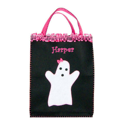 Personalized Classic Pink Friendly Ghost Trick or Treat Bag - XL