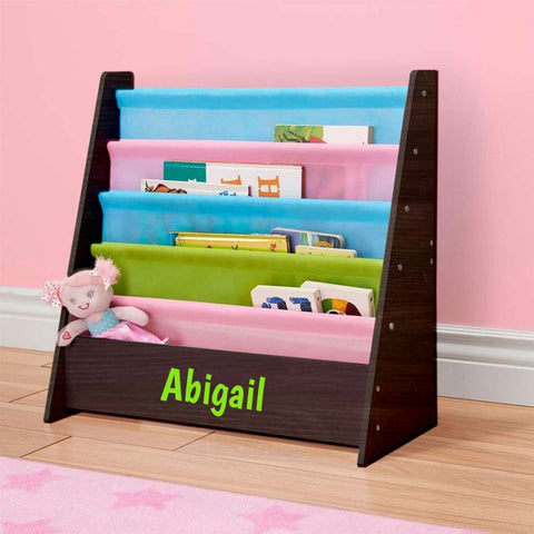 Personalized Dibsies Kids Bookshelf - Espresso with Pastel Fabric