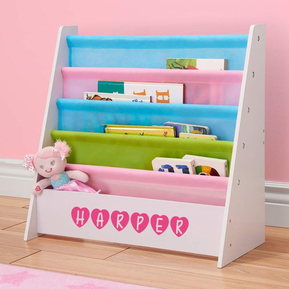 Personalized Dibsies Kids Bookshelf - White with Pastel Fabric
