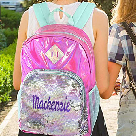 Personalized Magic Reversible Sequins Backpack - Pink Hologram with Silver Sequins