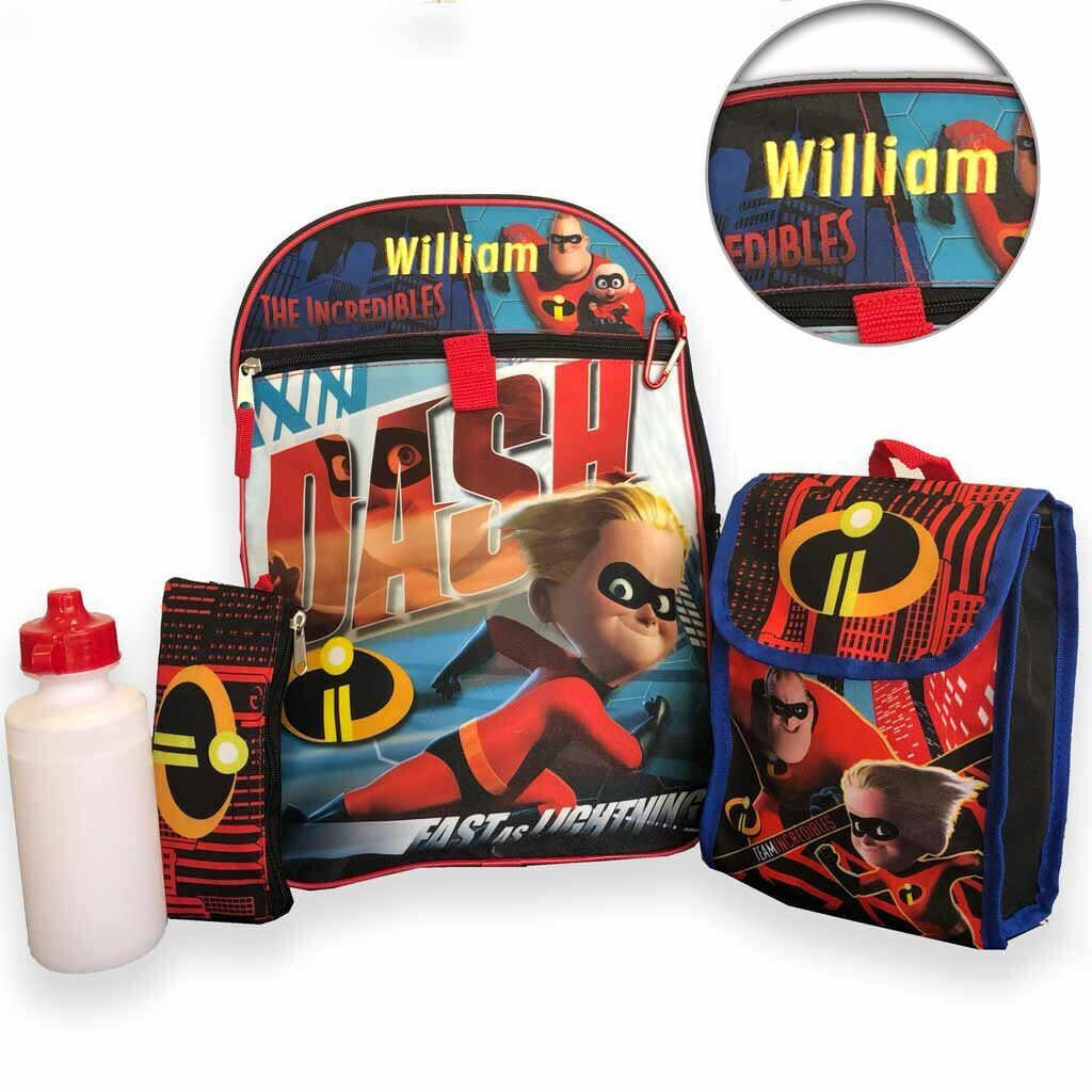 "Personalized 16"" Incredibles 2 Backpack with Bonus Lunch Bag, Water Bottle, Pencil Case, and Carabiner Clip"