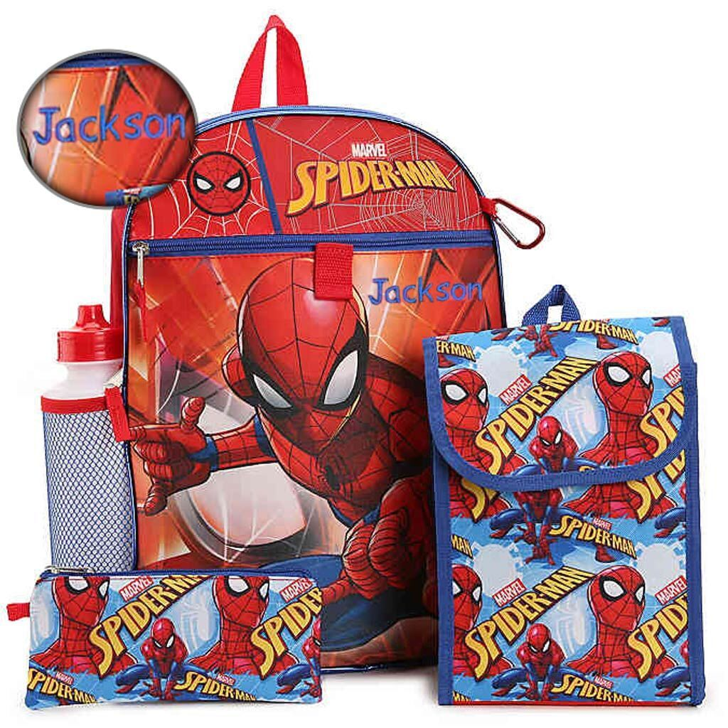 "Personalized 16"" Marvel Spider Man Backpack with Bonus Lunch Bag, Water Bottle, Utility Case, and Pencil Case"