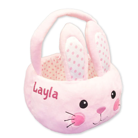 Personalized Pink Bunny Plush Easter Basket