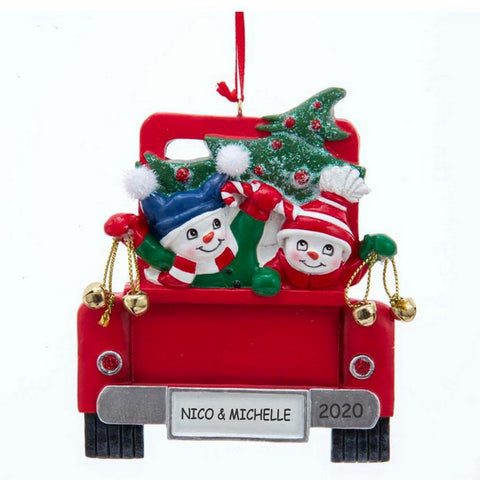 Personalized Snowman Couple on Red Truck Ornament