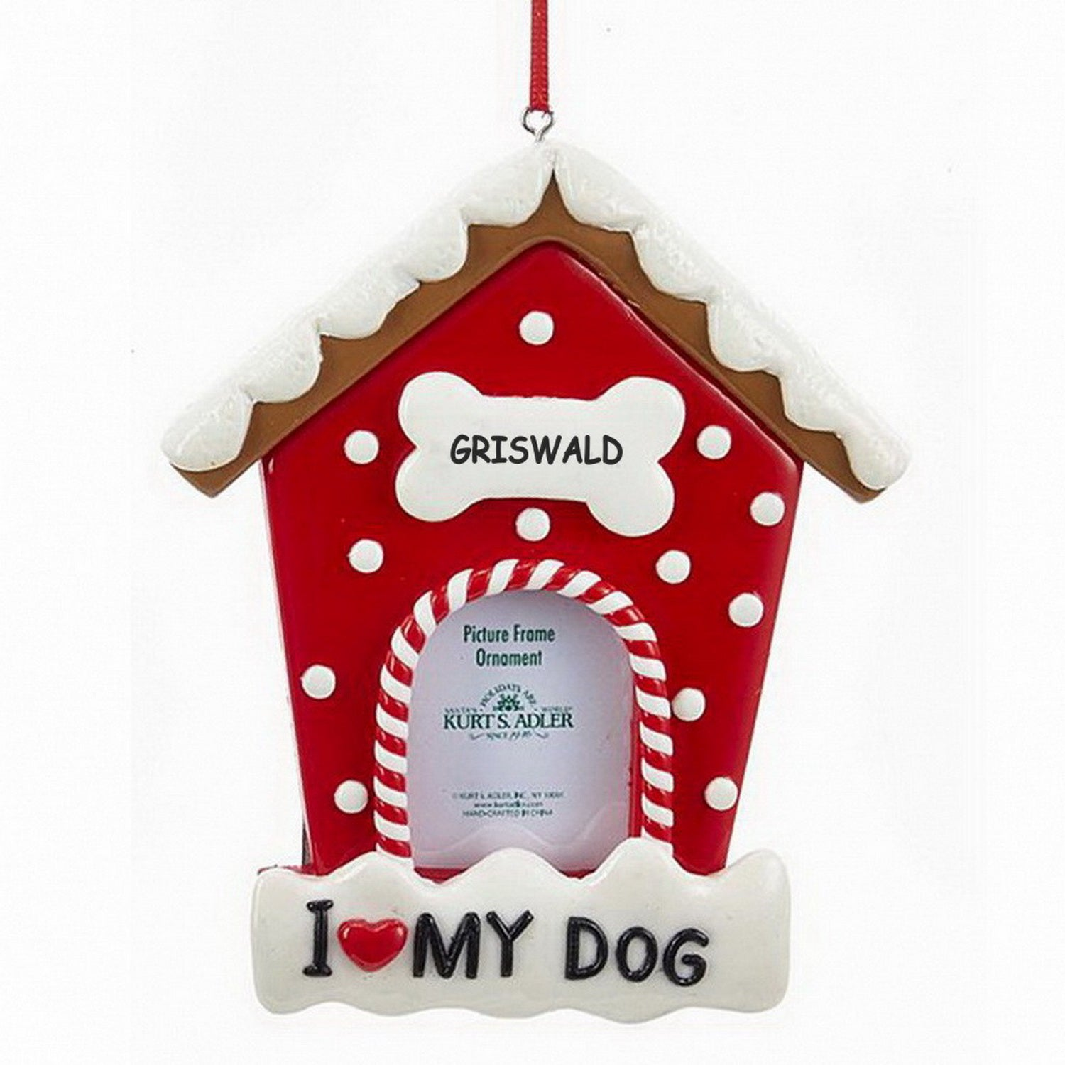 Personalized Dog House Picture Frame Christmas Ornament