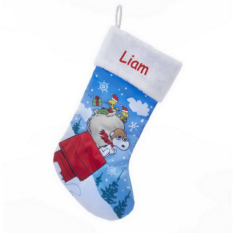 Personalized Snoopy and Woodstock Christmas Stocking