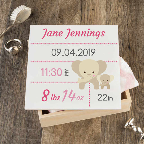 Personalized Baby Keepsake Box - Pink with Elephants - Regular Size
