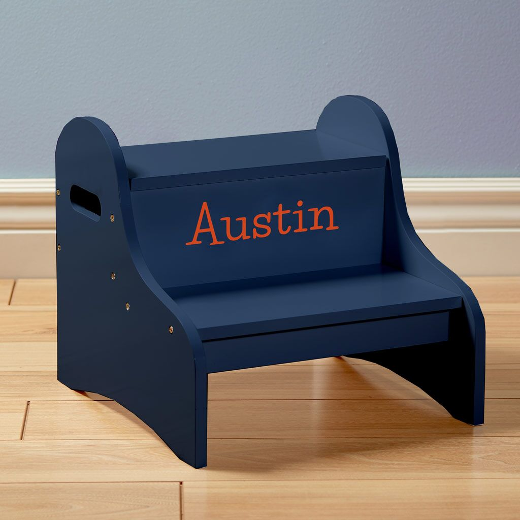Personalized Dibsies Step Stool with Storage - Blue