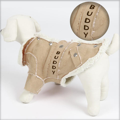 Personalized Trendy Dog Coat with Faux Fur Lining - Tan