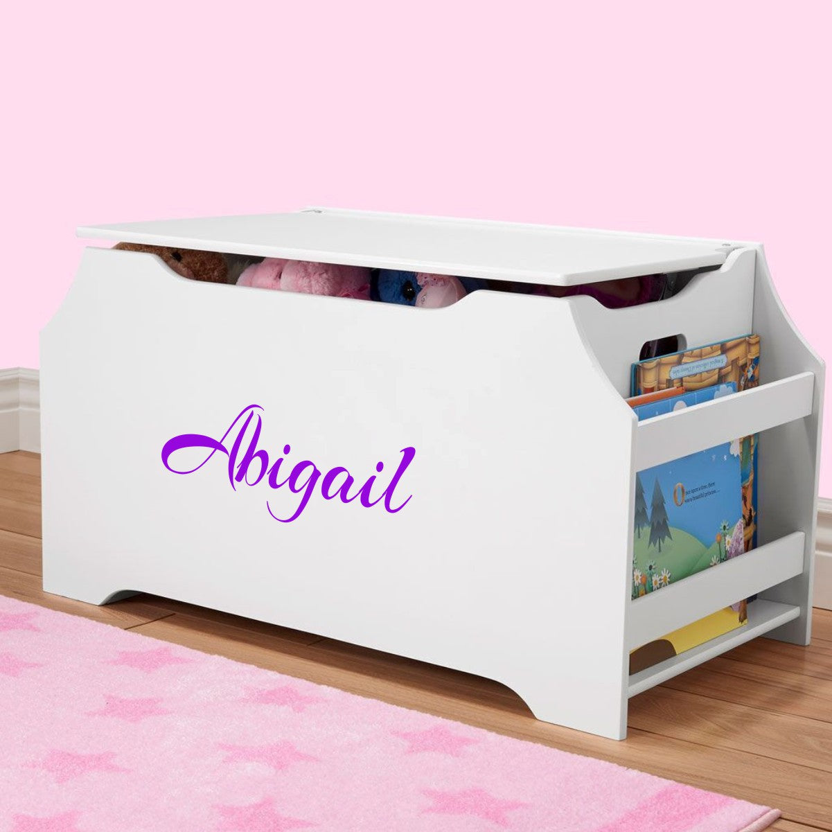 Personalized Dibsies Kids Toy Box With Book Storage   White