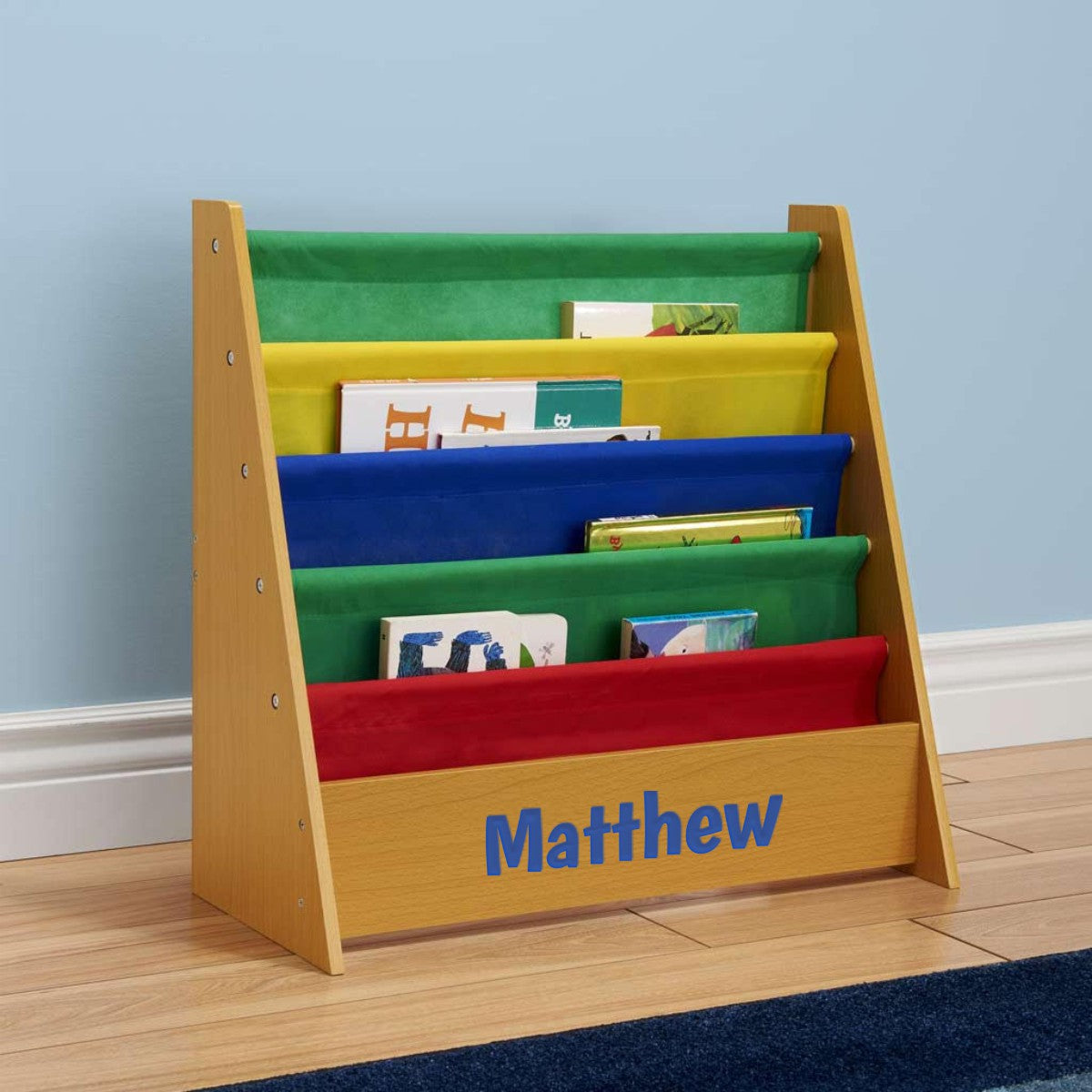 Personalized Dibsies Kids Bookshelf - Honey with Primary Fabric
