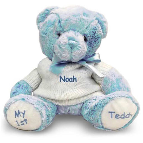 Personalized Baby Gift - Baby's First Teddy Bear - Blue, 12 Inch