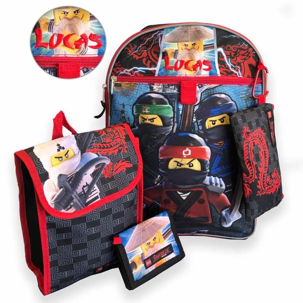 "Personalized 16"" Lego Ninjago Backpack with Bonus Lunch Bag, Pencil Case, Wallet, and Carabiner Clip."
