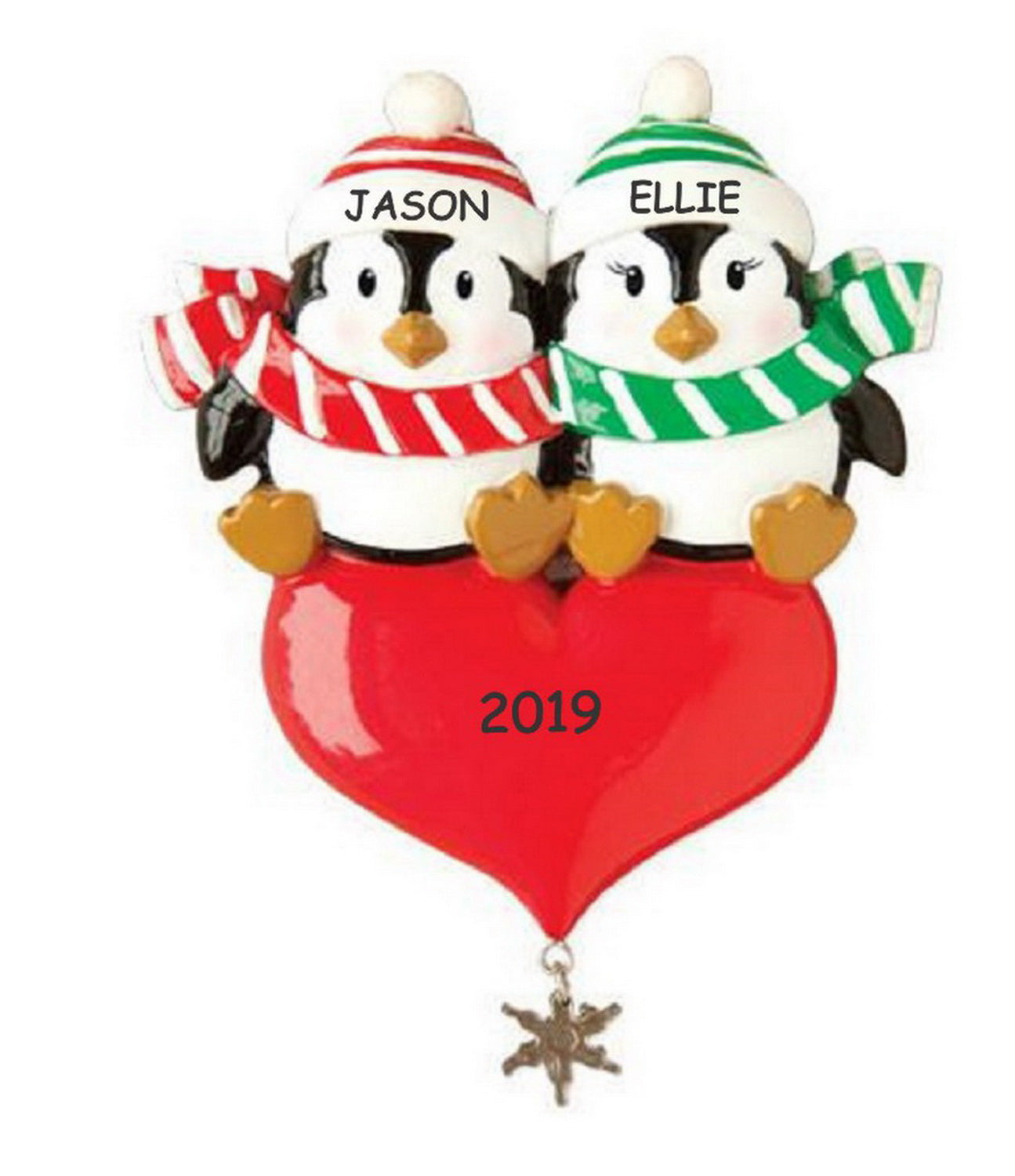 Personalized Sweetheart Penguin Couples Christmas Ornament