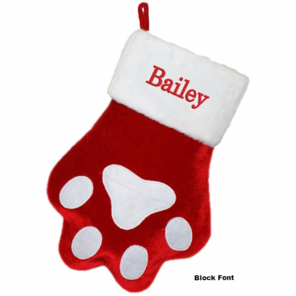 Personalized Dog Paw Christmas Stocking | Dibsies Personalization ...