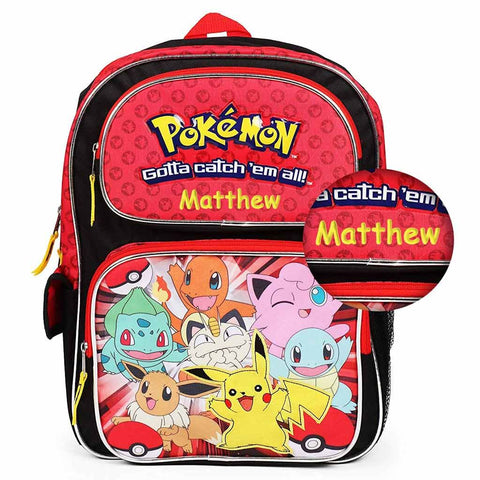 Personalized Pokemon Pikachu and Friends Gotta Catch 'Em All Backpack - 16 Inch