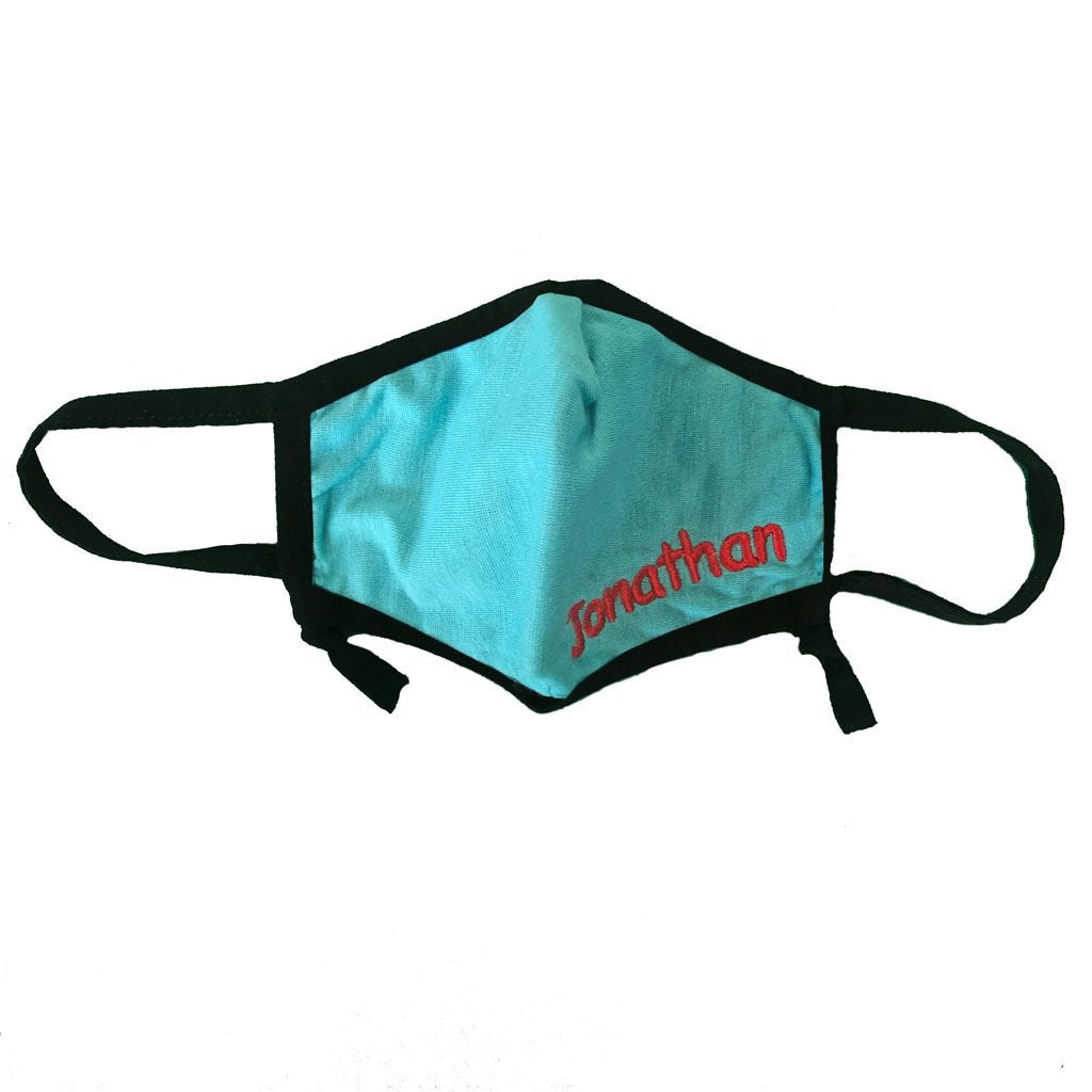 Personalized Reusable Kids Face Mask with Adjustable Straps - Teal with Black Trim