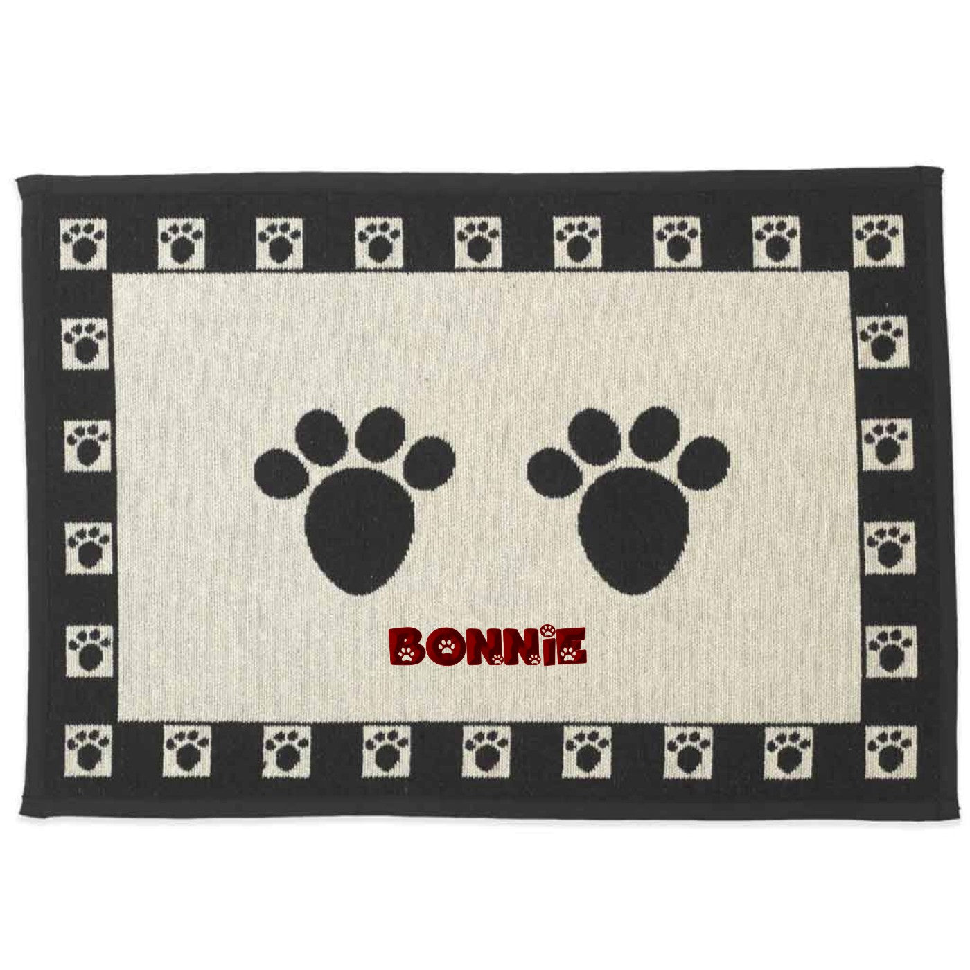 Dibsies Personalized Tapestry Pet Food Mat - Paw Prints