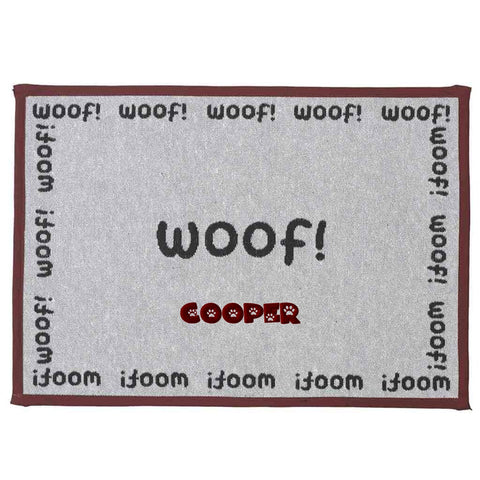 Dibsies Personalized Tapestry Dog Food Mat - Woof