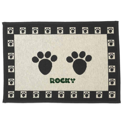 Dibsies Personalized Tapestry Extra Large Pet Food Mat - Paw Prints - 28