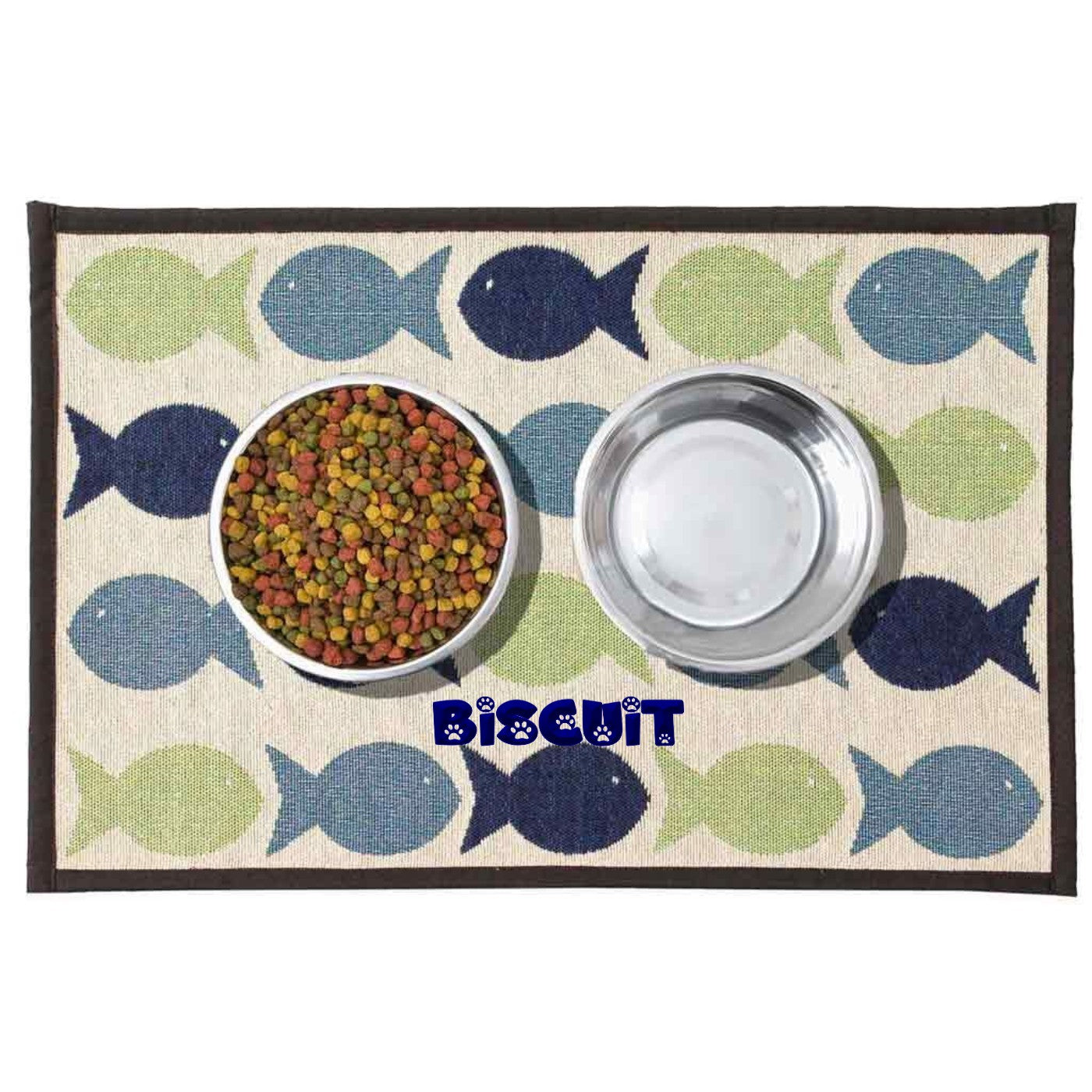 Dibsies Personalized Tapestry Cat Food Mat - Kool Fishies